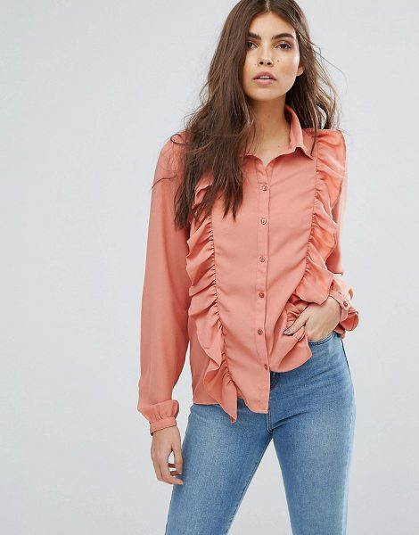 "VILA Ruffle Front Shirt - """"Shirt by Vila, Smooth woven fabric, Point collar, Button..."