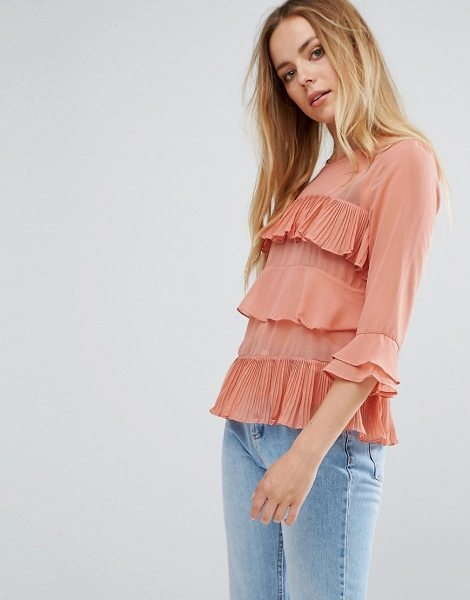 "Vila Ruffle Layered Blouse in pink - """"Blouse by Vila, Woven fabric, Semi-sheer finish, Crew..."