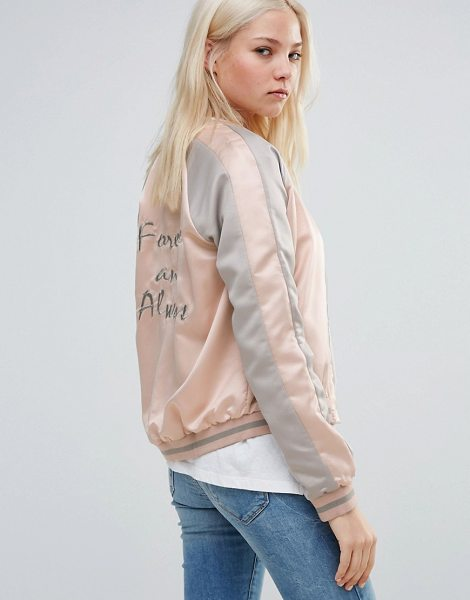 Vila Sateen Contrast Bomber in pink - Jacket by Vila, Lightweight satin-style fabric, Fully...