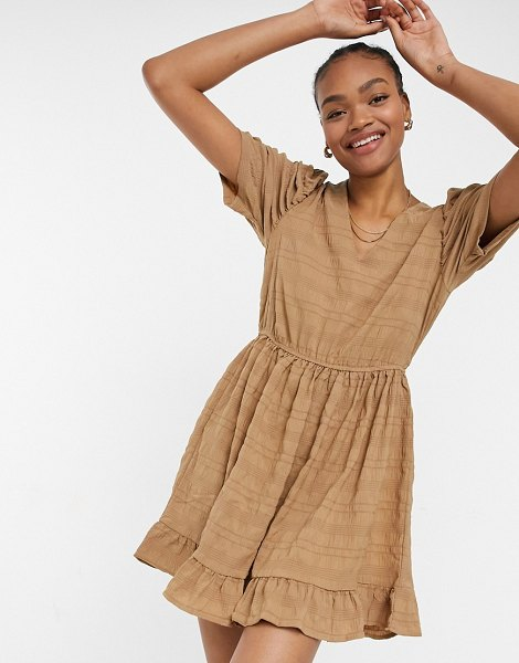 Vila smock dress with puff sleeves in textured camel-brown in brown
