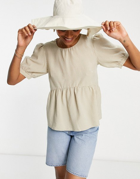 Vila smock top with tie back in neutral gingham in neutral