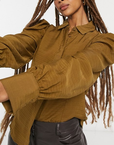 Vila textured shirt with sleeve detail in olive-brown in brown