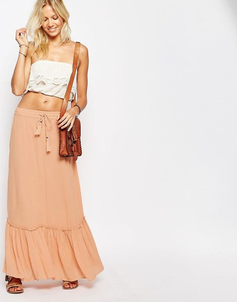 Vila Tiered Maxi Skirt in pink - Maxi skirt by Vila, Crinkled woven fabric, Fully lined,...