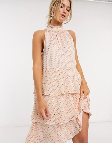 Vila tiered midi dress with halter neck in soft pink print in pink