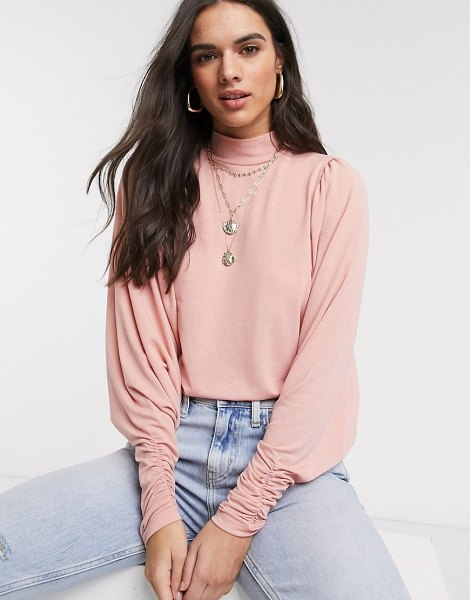 Vila top with exaggerated sleeve in pink in pink