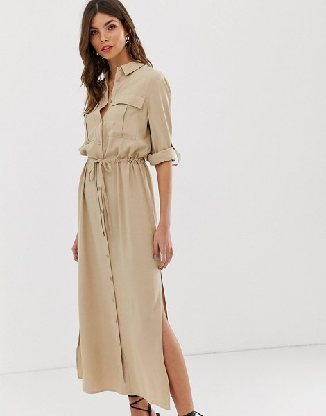 Vila utility midi shirt dress in cream in cream