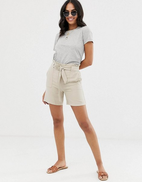 Vila utility short with tie waist-beige in beige