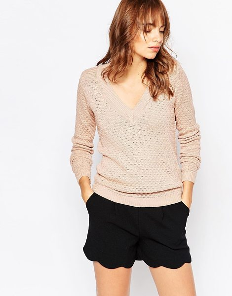 Vila V neck knit sweater in tan - Sweater by Vila Wool-mix knit Textured finish V-neckline...