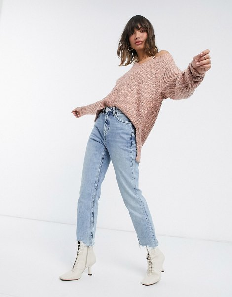 Vila v-neck knitted sweater in pink in pink