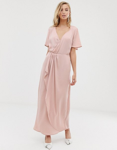 Vila wrap maxi dress with pleat detail-pink in pink