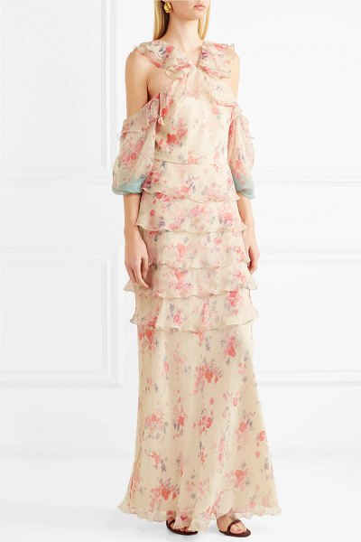 VILSHENKO alisanna cold-shoulder printed crinkled silk-chiffon gown in cream - Vilshenko's Resort '18 collection is inspired by...