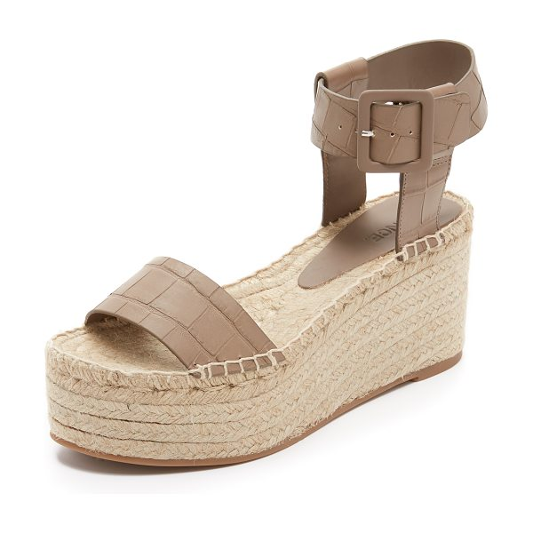 Vince Abby espadrille wedges in pumice - Croc embossed leather lends sophistication to these...