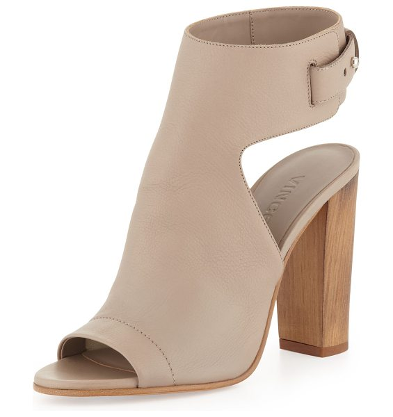 VINCE Addie Open-Toe Buckle-Back Sandal - Vince soft grain leather sandal with tonal topstitching....