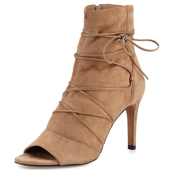 """VINCE Adisa lace-up open-toe ankle boot in sand - Vince slouchy kid suede ankle boot. 3"""" covered stiletto..."""