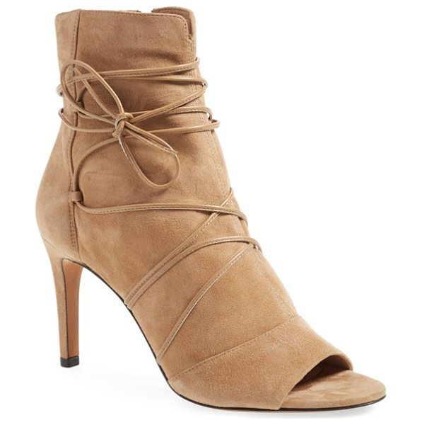 Vince adisa open toe bootie in sand suede - Wraparound leather laces add interest to the shaft of an...
