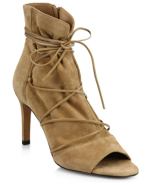 Vince adisa suede lace-up peep-toe booties in sand - Slim leather laces wraparound chic suede peep-toe...
