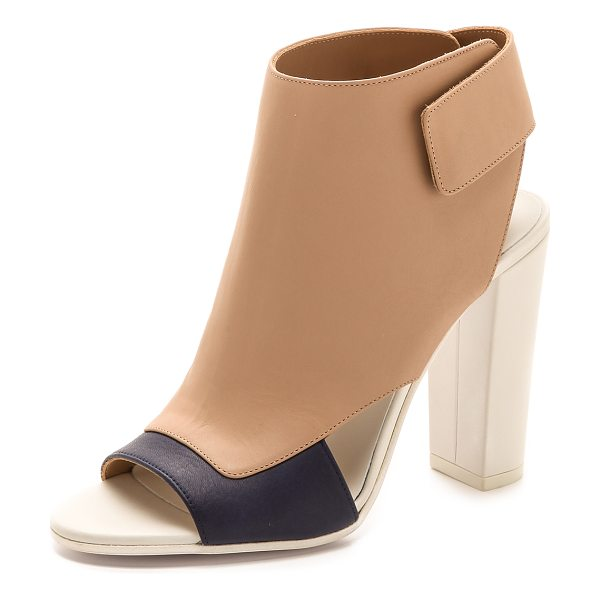 VINCE Agatha open toe booties - Striking colorblocked leather lends a fresh look to open...