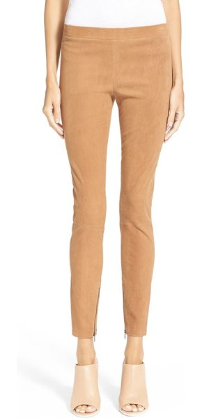 VINCE ankle zip suede leggings - Zip details at the hems update slender high-rise...