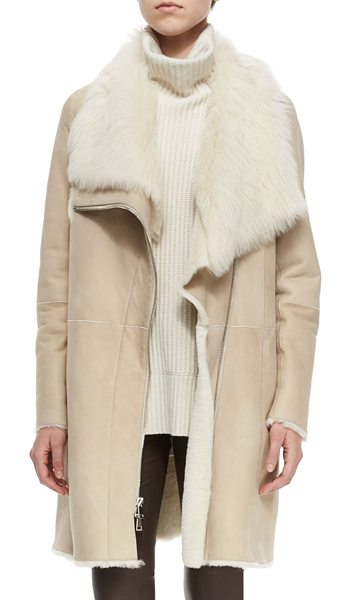 Vince Asymmetric Shearling Fur Coat in creme - ONLYATNM Only Here. Only Ours. Exclusively for You....