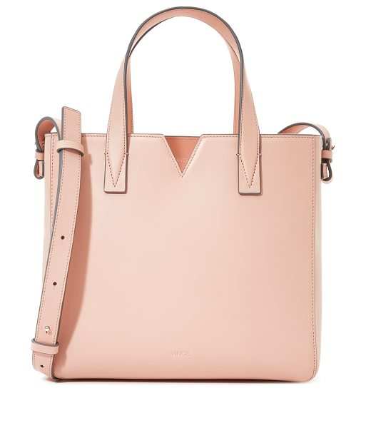 Vince Baby tote in blush - A boxy Vince tote in smooth leather. Notched top line....