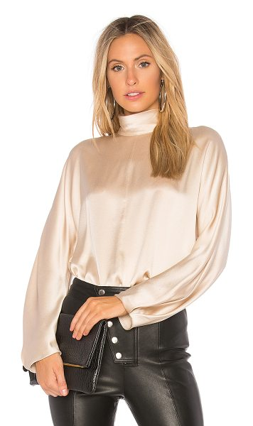 Vince Band Collar Blouse in cream - Viscose blend. Hand wash cold. Mock neckline. Back snap...