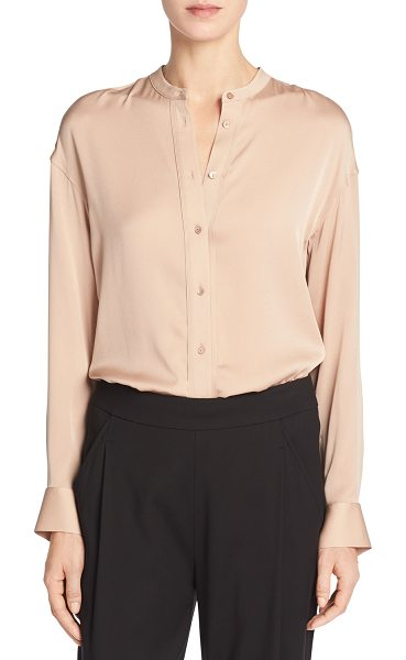 "Vince Band-Collar Stretch-Silk Pintuck-Placket Blouse in pink - Vince blouse in satin-finish stretch silk. Approx. 29""L..."