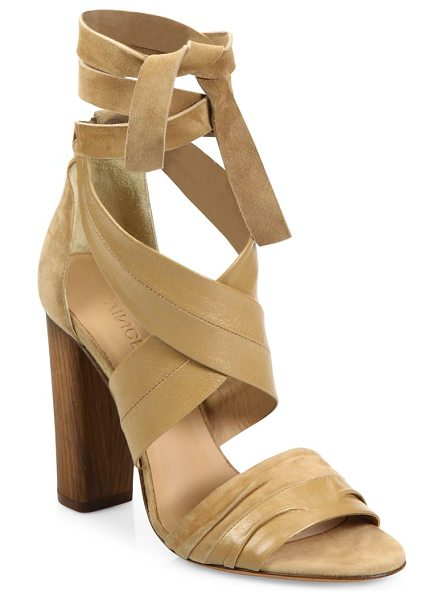 Vince beatrice leather & suede wraparound block-heel sandals in sand - Luxe crisscross ankle-wrap sandal on wooden block heel....