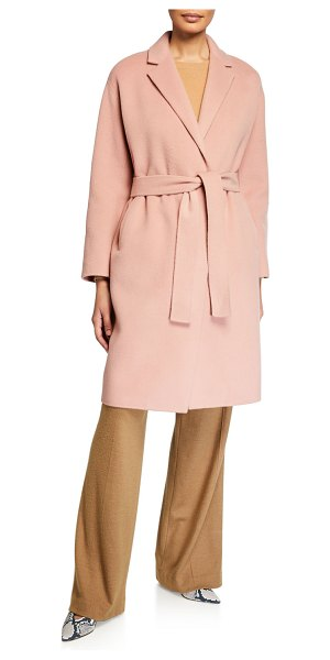 Vince Belted Wool Coat in pink
