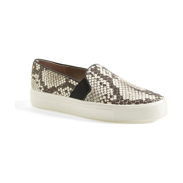 Vince berlin slip-on python embossed leather sneaker in black/ white/ woodsmoke - Liven up your everyday style in a slip-on sneaker with...