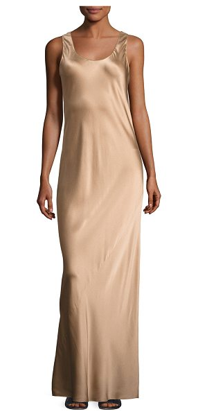 Vince Bias-Seam Sateen Maxi Dress in camel - Vince sateen slip dress with bias seam detail. Scoop...