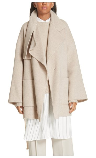 Vince blanket coat in beige - Instantly update your cold-weather look with a relaxed...