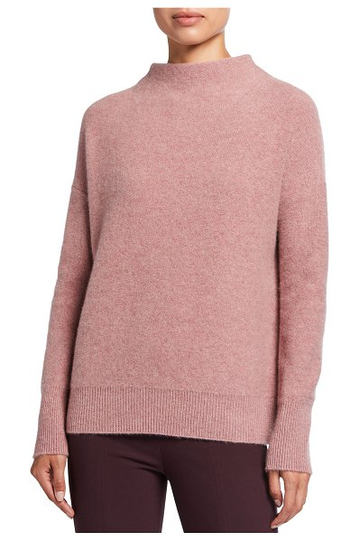 Vince Boiled Cashmere Funnel-Neck Pullover in pink