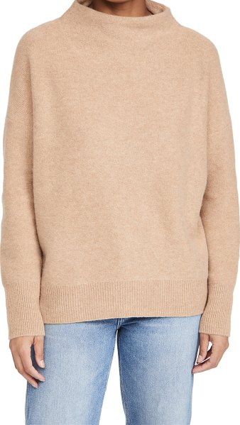 Vince boiled funnel neck pullover in heather desert clay