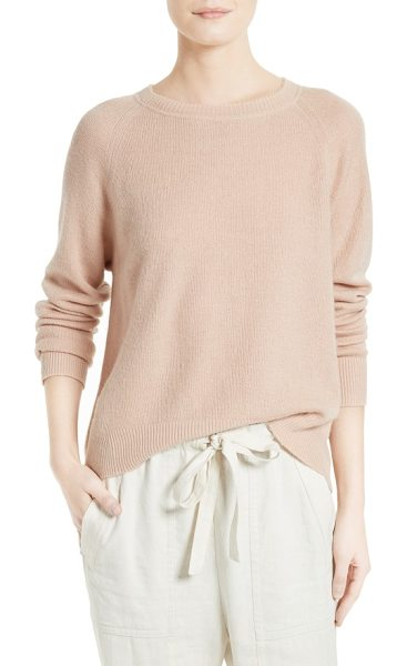 Vince boxy cashmere & linen pullover in peach - Dropped shoulders enhance the slouchy-chic fit of a boxy...