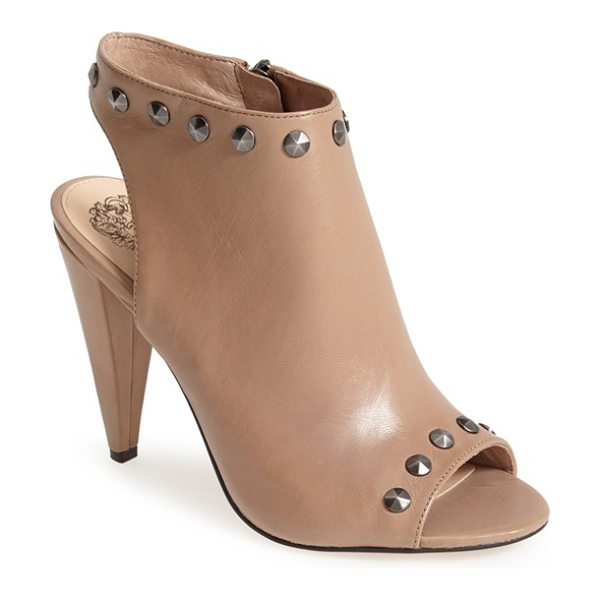 Vince Camuto abbia leather open toe sandal in beige - Soft nappa leather punctuated by starburst studs along...