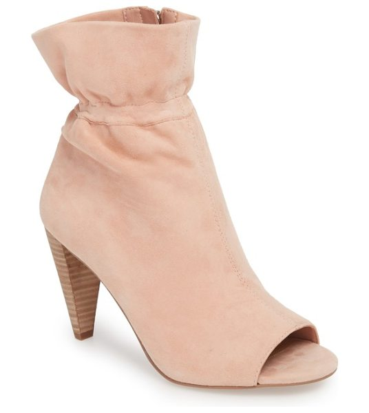 Vince Camuto addiena bootie in rose blush suede - A ruffly paperbag shaft tops off a distinctive and...