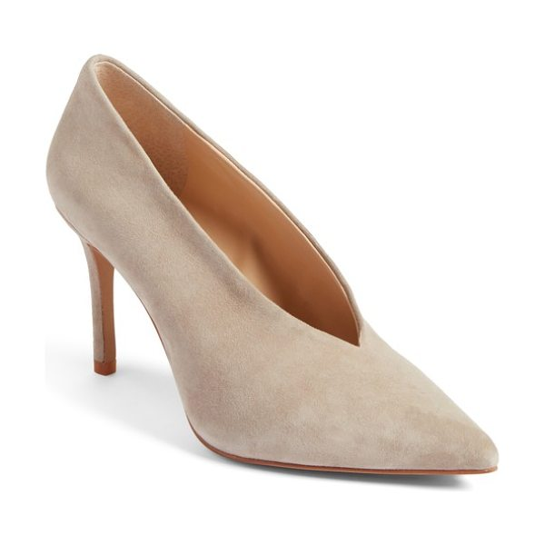 Vince Camuto ankia suede pump in tipsy taupe - A V-shaped topline accentuates the streamlined...