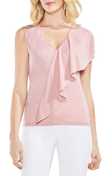 VINCE CAMUTO asymmetrical ruffle v-neck top - Lavish, angular ruffles drape down this...