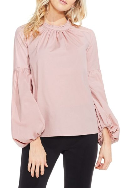 Vince Camuto balloon sleeve blouse in iced rose - A high ruffled neckline and gathered balloon sleeves...