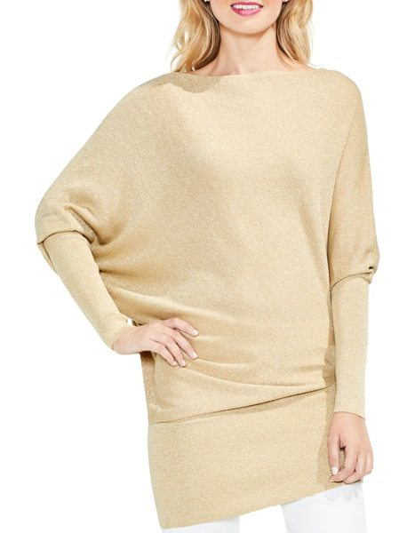 Vince Camuto batwing sleeve metallic sweater in bisque - Golden glitter enriches a cozy pullover in a chic wedge...