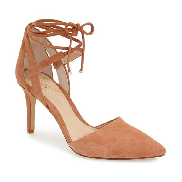 Vince Camuto bellamy pointy toe pump in rosewood - Sinuous, wraparound ankle ties amp up the allure of a...
