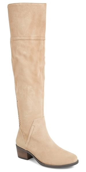 Vince Camuto bendra over the knee split shaft boot in khaki - Intricate lacing frames a vertical stripe of goring on...