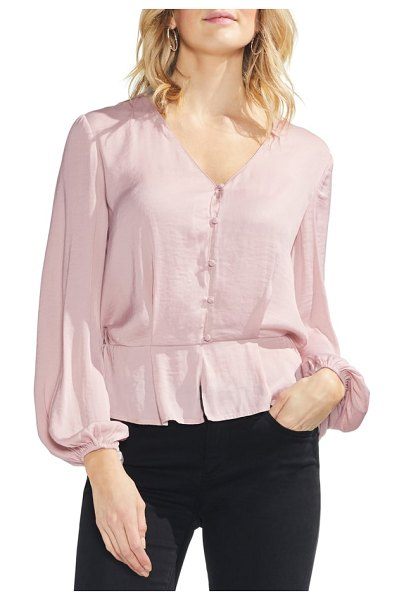 Vince Camuto blouson top in lustre pink - A romantic blouse of lustrous hammered satin fits with...
