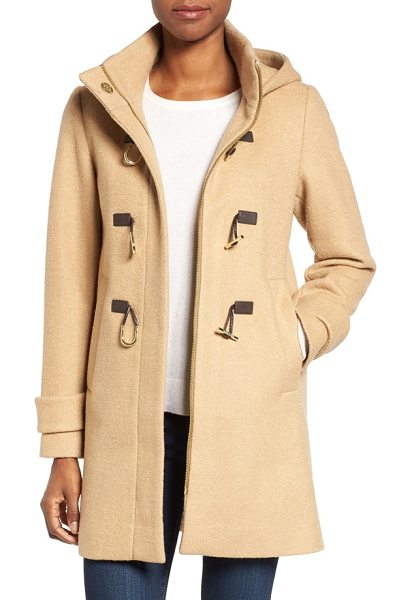 Vince Camuto boiled wool blend duffle coat in camel - A trio of rustic toggles adds a town-and-country touch...