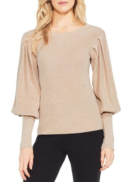 Vince Camuto bubble sleeve sweater in warm camel heather - Poufed to the elbow, juliet sleeves bring an all-at-once...