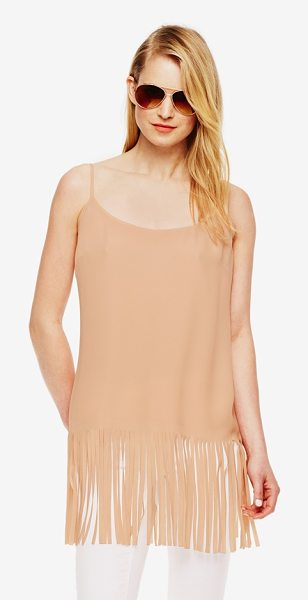 Vince Camuto camisole with fringe in apricot ice - A border of swaying fringe gives a trend-right twist to...