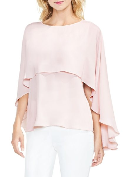 Vince Camuto cape overlay blouse in hush pink - Move elegantly with every step in this fluid blouse...