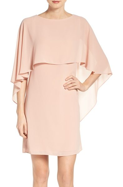 Vince Camuto cape overlay dress in blush - A souffle-woven A-line dress catches the eye in a...