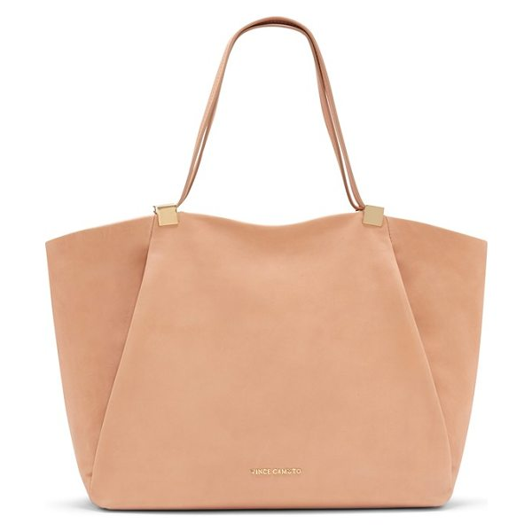 Vince Camuto Carin top zip leather tote in burnt toffee - Gilded hardware highlights the supple leather...