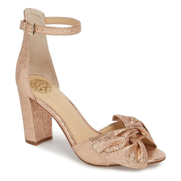 Vince Camuto carrelen block heel sandal in beaming blush - A knotted bow adds soft dimension to an otherwise...